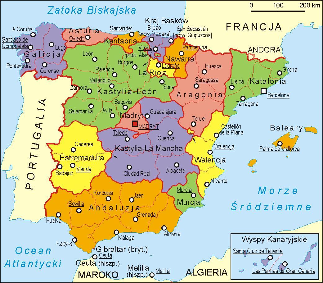 Hiszpania mapa polityczna